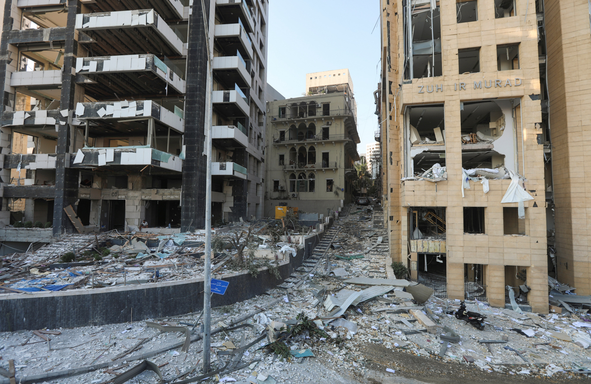 A general view shows the damage near the site of Tuesday's blast in Beirut's port area