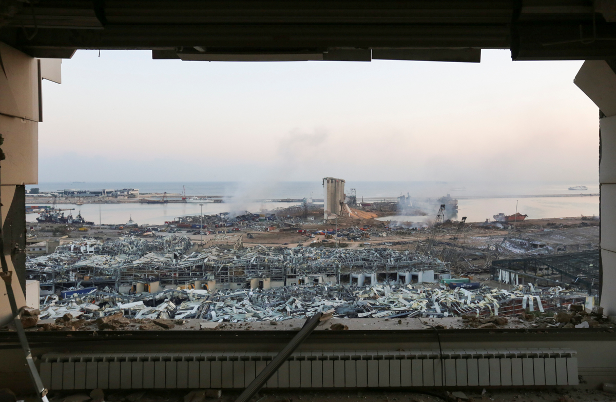 A general view shows the aftermath at the site of Tuesday's blast in Beirut's port area
